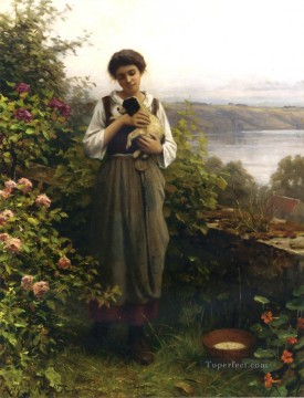 Classical Flowers Painting - Young Girl Holding a Puppy countrywoman Daniel Ridgway Knight Flowers