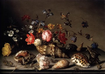 Flowers Painting - balthasar van der ast still life of flowers shells and insects Flowering