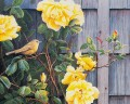 bird and yellow rose classical flowers