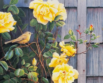 Classical Flowers Painting - bird and yellow rose classical flowers
