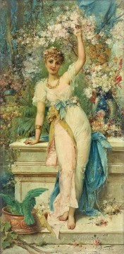 floral girl standing Hans Zatzka classical flowers Oil Paintings