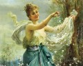 girl playing flowers Hans Zatzka