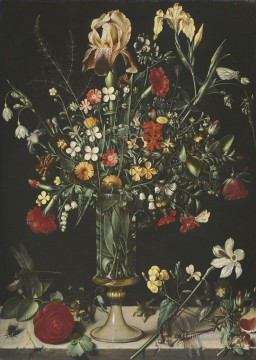 Classical Flowers Painting - A STILL LIFE OF FLOWERS INCLUDING IRISES NARCISSI LILY OF THE VALLEY AND CARNATIONS