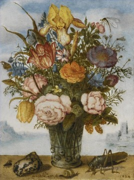 Flowers Painting - Bosschaert Ambrosius FLOWER BOUQUET ON A LEDGE TOGETHER WITH A SHELL AND A GRASSHOPPER