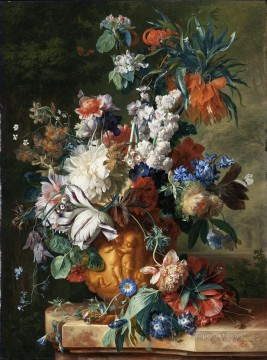 Bouquet of Flowers in an Urn2 Jan van Huysum classical flowers Oil Paintings