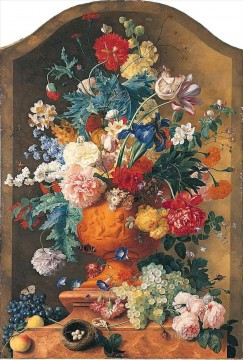 Flowers in a Terracotta Vase Jan van Huysum classical flowers Oil Paintings