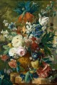 Flowers in a Vase with Crown Imperial and Apple Blossom at the Top and a Statue Jan van Huysum classical flowers