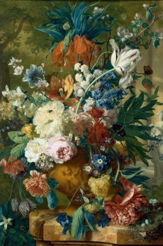 Flowers in a Vase with Crown Imperial and Apple Blossom at the Top and a Statue Jan van Huysum classical flowers Oil Paintings