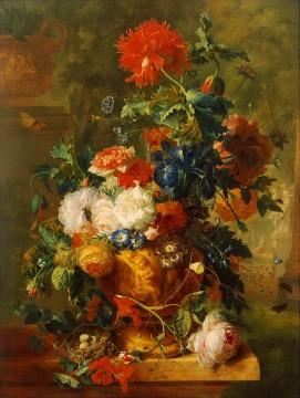Flowers with statues Jan van Huysum classical flowers Oil Paintings