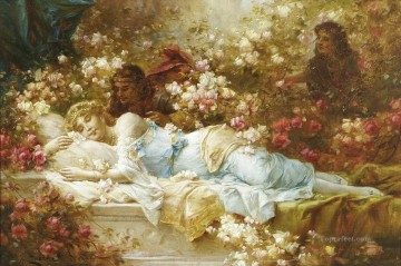 sleep Painting - Sleeping Beauty Hans Zatzka classical flowers