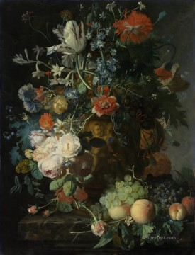 Still Life with Flowers and Fruit 4 Jan van Huysum classical flowers Oil Paintings