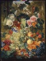 Still life of flowers and fruit on a marble slab_1 Jan van Huysum classical flowers