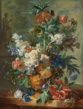 Huysum Works - Still life with statue of Flora the goddess of flowers Jan van Huysum classical flowers