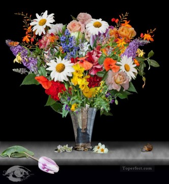 flowers in ag vase Flowering Oil Paintings