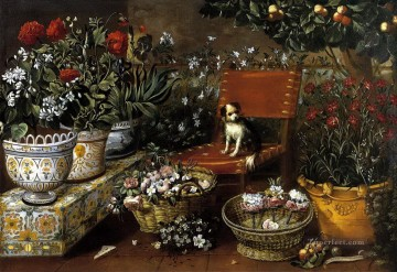 Classical Flowers Painting - flowers view dog