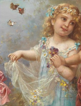 little girl and butterfly Hans Zatzka classical flowers Oil Paintings