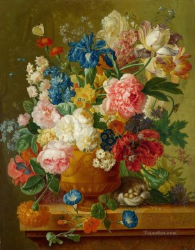 paulus theodorus van brussel flowers in a vase Flowering Oil Paintings