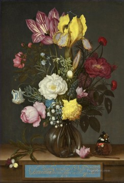 Classical Flowers Painting - Bosschaert Ambrosius Bouquet of Flowers in a Glass Vase