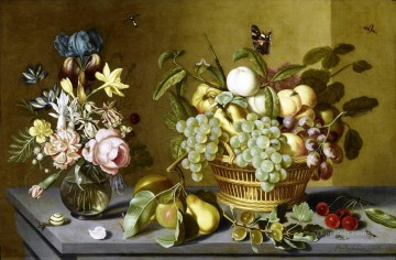 Classical Flowers Painting - Bosschaert Ambrosius Fruits Basket