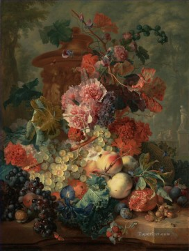 Fruit Piece with sculptures Jan van Huysum classical flowers Oil Paintings