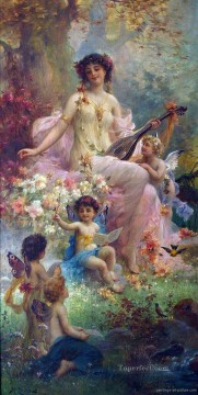 Playing Painting - beauty playing guitar and floral angels Hans Zatzka classical flowers