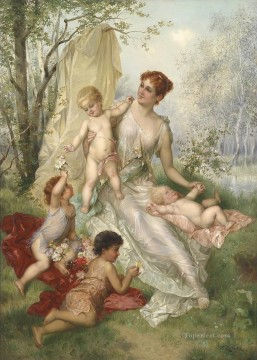 woman and kids Hans Zatzka classical flowers Oil Paintings