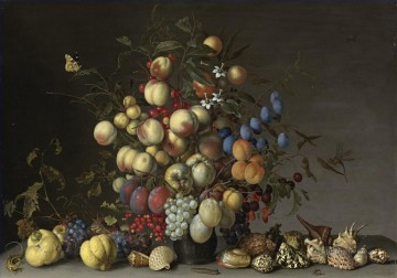 Classical Flowers Painting - Bosschaert Ambrosius CRAB APPLES AND OTHER FRUIT IN A PEWTER VASE