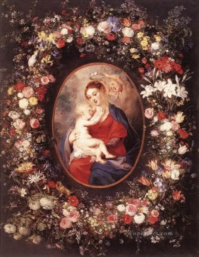 Virgin Painting - The Virgin and Child in a Garland of Baroque Peter Paul Rubens flower