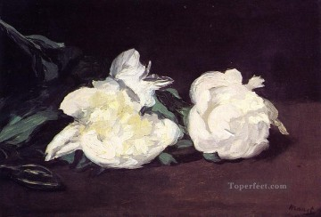 Impressionism Flowers Painting - Branch Of White Peonies With Pruning Shears flower Impressionism Edouard Manet