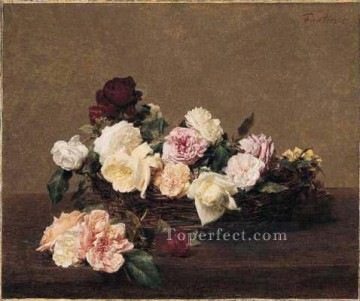 A Basket of Roses flower painter Henri Fantin Latour Oil Paintings