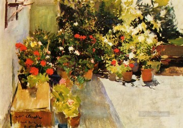 A Rooftop with Flowers painter Joaquin Sorolla Oil Paintings