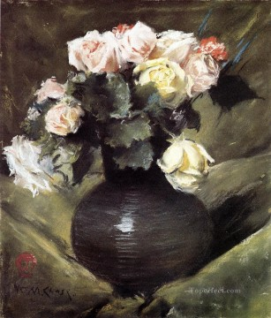 flower flowers floral Painting - Flowers aka Roses impressionism flower William Merritt Chase