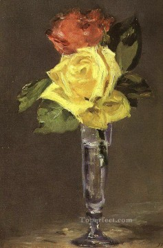 Glass Painting - Roses in a Champagne Glass Eduard Manet Impressionism Flowers