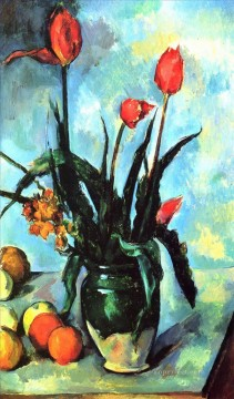Tulips in a Vase Paul Cezanne Impressionism Flowers Oil Paintings