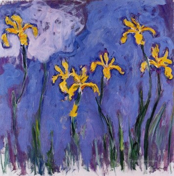 Yellow Irises with Pink Cloud Claude Monet Impressionism Flowers Oil Paintings