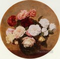 A Large Bouquet of Roses flower painter Henri Fantin Latour