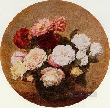 A Large Bouquet of Roses flower painter Henri Fantin Latour Oil Paintings