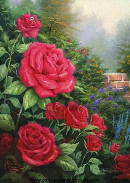 A Perfect Red Rose Thomas Kinkade Impressionism Flowers Oil Paintings
