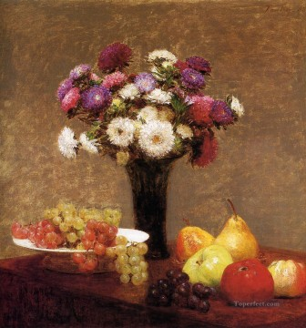 Fruit Painting - Asters and Fruit on a Table flower painter Henri Fantin Latour