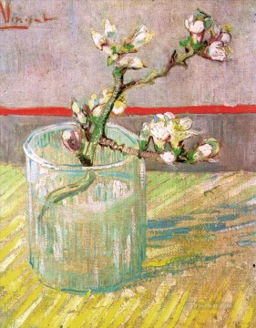 vincent van gogh Painting - Blossoming Almond Branch in a Glass Vincent van Gogh Impressionism Flowers