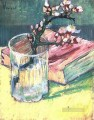 Blossoming Almond Branch in a Glass with a Book Vincent van Gogh Impressionism Flowers