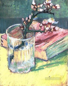 Glass Painting - Blossoming Almond Branch in a Glass with a Book Vincent van Gogh Impressionism Flowers