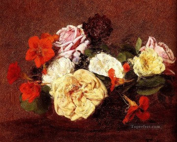 bouquet art - Bouquet Of Roses And Nasturtiums Henri Fantin Latour Impressionism Flowers