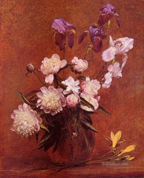 Bouquet of Peonies and Iris flower painter Henri Fantin Latour Oil Paintings