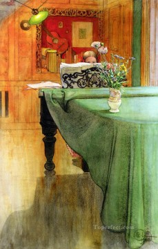 Brita Vid Pianot Brita at the Piano 1908 Carl Larsson Impressionism Flowers Oil Paintings
