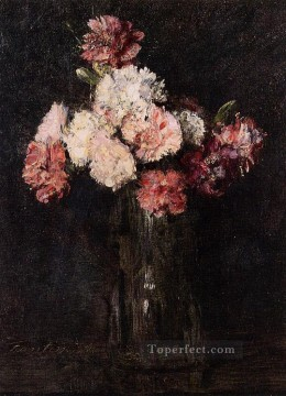 glass Painting - Carnations in a Champagne Glass flower painter Henri Fantin Latour