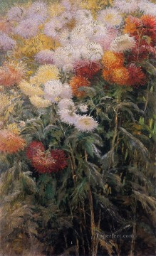 impressionists Oil Painting - Clump of Chrysanthemums Garden at Petit Gennevilliers Impressionists Gustave Caillebotte Impressionism Flowers