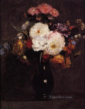 Queens Canvas - Dahlias Queens Daisies Roses and Cornflowers flower painter Henri Fantin Latour