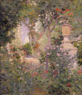 El jardin del autor Jose Benlliure y Gil Impressionism Flowers Oil Paintings