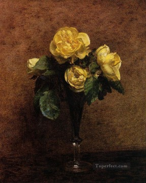 Fleurs Roses Marechal Neil flower painter Henri Fantin Latour Oil Paintings